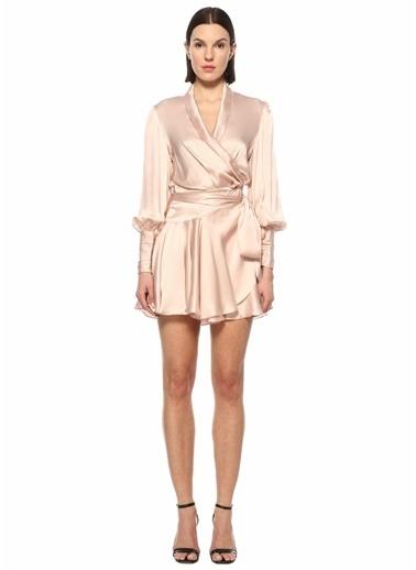 Zimmermann Zimmermann  Kruvaze Yaka Mini İpek Elbise 101598400 Pudra